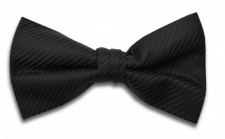 Polyester Pre-Tied Black Bow Tie with Diagonal Stripe Design